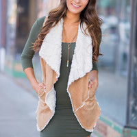 Told You So Fur Lined Suede Vest (Camel)