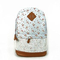 Crazycity Unisex Floral PatternLace Canvas Backpack Shoulder Bag
