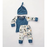 Winter Autumn born Baby Clothes Set Infant Cotton Boys Clothing Toddlers Hats+Rompers+Pants 3piece/Set Christmas Clothes