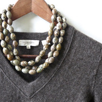 QUILL. triple strand chunky jasper necklace in natural taupe, brown and green stones and sterling silver