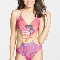 Junior Women's Billabong 'Seventy Three Aloha' Cutout One-Piece Swimsuit