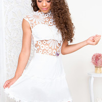 Lena Flower Lace Dress - White