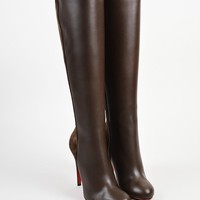 DCCK Brown Christian Louboutin Leather  Acheval 100  Tall Boots