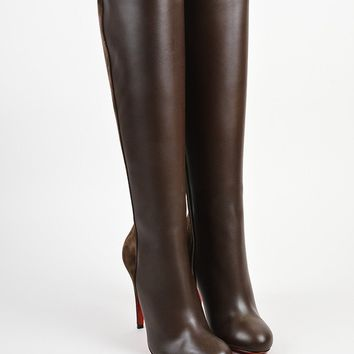 DCCK ?¨®¡é¨?¨ª¨®Christian Louboutin Brown Leather and Suede  Acheval 100  Heel Boots