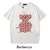 BURBERRY Newest Popular Woman Men Casual Print Round Collar T-Shirt Top Blouse White