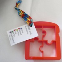 Autism Puzzle Piece Bread or Toast Cutter with Ribbon and Card