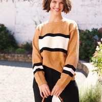 Express Yourself Accent Stripe Pullover Sweater, Camel Stripe