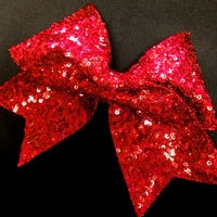Red Sequin Cheer Bow for Cheerleading by Bowfriendz on Etsy