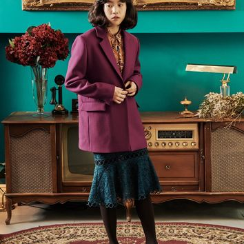 [OH.L] STRAIGHT FIT SOLID JACKET_PLUM