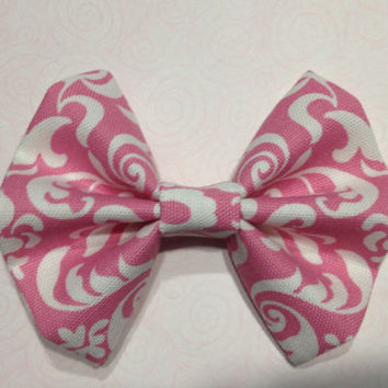 Pink Fabric Hair Bow with White Design
