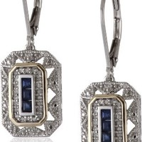 Sterling Silver, 14k Yellow Gold, and Gemstone Art Deco-Style Drop Earrings with Diamond Accents (0.13 cttw, I-J Color, I2-I3 Clarity)