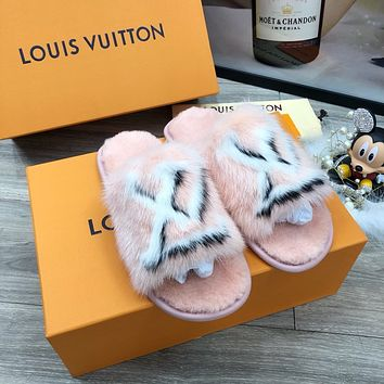 New Arrival LV Louis Vuitton Women's Leather Slippers Sandals Shoes WARM WINTER 2020 - FROM men jersep