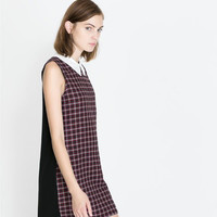 Block Plaid Sleeveless Collared Dress