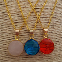 Natural stone Saphire pendant Statement necklace dainty jewelry perfect for gift gold plated necklace wedding gift