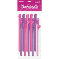 Bachelorette Party Favors Dicky Sipping Straws - Asst. Colors Pack of 10