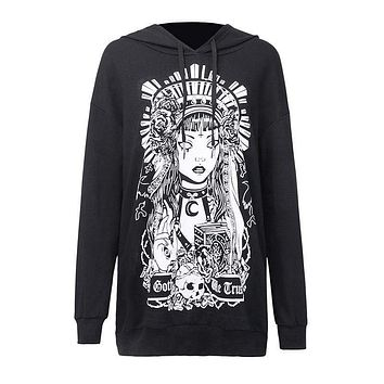 Women Casual Gothic Style Print Long-sleeve Loose Hooded Dress