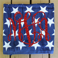 USA Monogram Beach Towel 4th of July Fourth of July Memorial Day Veterans Day Patriotis Red White and Blue Sparkle Monogrammed Beach Towel