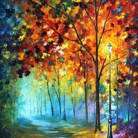 Fog Alley - oil painting by Leonid Afremov