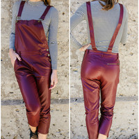 Crystal Cool Burgundy Pleather Cropped Overalls