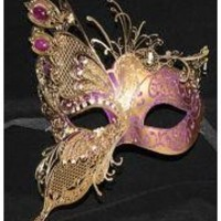 Purple Venetian Hand Painted Papier Mache Masquerade Mask with Gold Metal Laser Cut and Crystals on Eyes