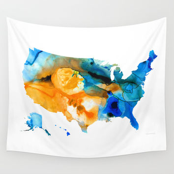 United States Map - America Map 9 - By Sharon Cummings Wall Tapestry by Sharon Cummings