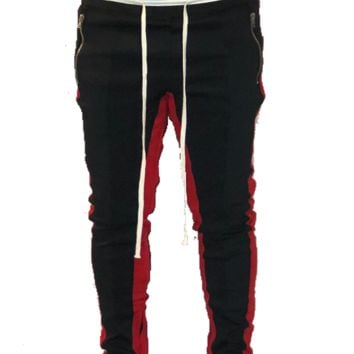 Blk/Red Double Striped Trackpants