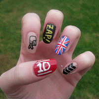 One Direction Nail Art, 1D False, Fake, Acrylic, Press On, Hand Painted Nail Set