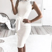 Lydia High-Neck & Lace Pencil Dress