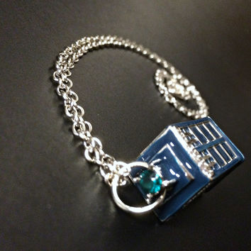 Doctor Who Tardis Necklace - 3D Blue Police Box Antique Silver Steampunk Galaxy Geeky Nerdy Science Jewelry Space