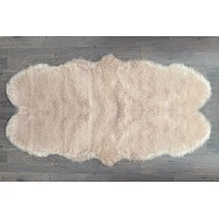 NEW! Machine Washable Faux Sheepskin Champagne Double Area Rug