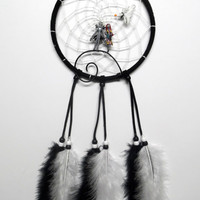 The Nightmare before Christmas dream catcher, black and white, Jack and Sally on the hill