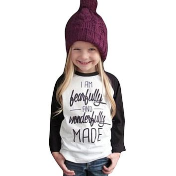 Toddler Baby Kids Girls Clothes Letter Print Long Sleeve T-shirt Blouse Tops
