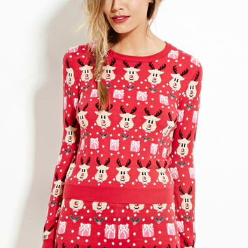 Reindeer-Patterned Sweater - Shop All - 2000181102 - Forever 21 EU English