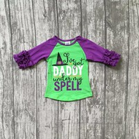 Halloween baby girls I've got Daddy under my spell boutique top t-shirts clothes purple icing sleeve cotton raglans witch hat