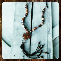 Coffee Agate Beaded Necklace with Long Leather Fringe 114J