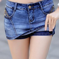 Women Denim Skorts Skirt Summer 2017 New Korean Style Blue Short Jeans Feminino With Zipper Slim Sexy Woman Mini Skirt Shorts