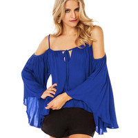 Strappy T-shirt with Ruffled Sleeves