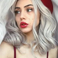 Long Arctic Ice Silver Shadow Synthetic Lace Front Wig