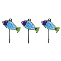Pottery & Iron - Beach House Fish Wall Hooks - Set of 3 - Iron Hangers (Turquoise)