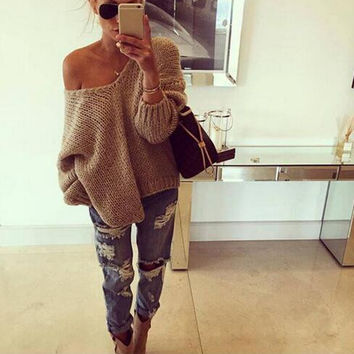 Loose V-Neck Pullover Sweaters   12433
