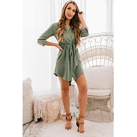 Find The Time Button Up Dress (Olive)