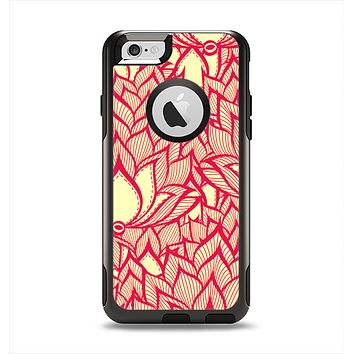 The Sketched Red and Yellow Flowers Apple iPhone 6 Otterbox Commuter Case Skin Set