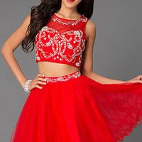 Dresses, Formal, Prom Dresses, Evening Wear: Short Two Piece Dress with Jewel Embellished Sheer Bodice