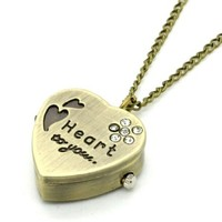 Conbays Sweet Heart Chain Pocket Watch Crystal Pendant Necklace Women Lady Girl Gift