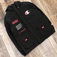 Champion New fashion letter print embroidery logo hooded cardigan long sleeve coat jacket Black