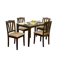5-Piece Espresso Wood Dining Set