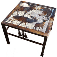 Wildlife Collage Rustic End Table