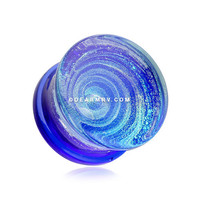 A Pair of Blue Galaxy Milky Way Glass Double Flared Plug