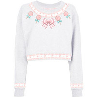 Kawaii Candy Printed Cropped Sweatshirt
