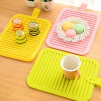 Silicone Dish Drying Mat 22.5X30cm Colorful Plate Table Mat Non-Slip Pad Heat Resistant Coaster Placemat HK048